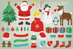 Christmas set with decoration elements. Santa Claus, Christmas Tree, Gift boxes and other christmas elements. Vector. Illustration Stock Photography