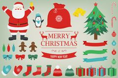Christmas set with decoration elements. Santa Claus, Christmas Tree, Gift boxes and other christmas elements. Vector. Illustration Stock Photo