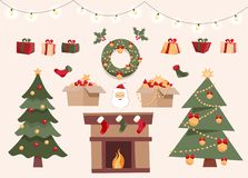 Christmas set with decorative winter objects, two different xmas trees, toys in boxes, gift boxes, balls, garlands, Santa Claus, vector illustration