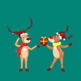 Christmas set of deer with banner , happy winter xmas holiday animal greeting card, santa helper reindeer vector Stock Photos