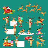 Christmas set of deer with banner , happy winter xmas holiday animal greeting card, santa helper reindeer vector Vector Illustration