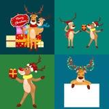 Christmas set of deer with banner , happy winter xmas holiday animal greeting card, santa helper reindeer vector Stock Image