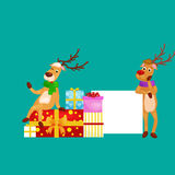Christmas set of deer with banner , happy winter xmas holiday animal greeting card, santa helper reindeer vector Royalty Free Stock Photography