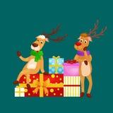 Christmas set of deer with banner , happy winter xmas holiday animal greeting card, santa helper reindeer vector Royalty Free Stock Photography