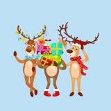 Christmas set of deer with banner , happy winter xmas holiday animal greeting card, santa helper reindeer vector Royalty Free Stock Image