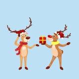 Christmas set of deer with banner , happy winter xmas holiday animal greeting card, santa helper reindeer vector Royalty Free Stock Photo