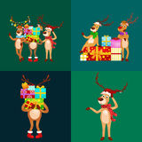 Christmas set of deer with banner isolated, happy winter xmas holiday animal greeting card, santa helper reindeer vector Royalty Free Stock Photos