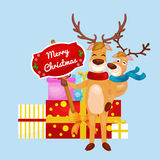 Christmas set of deer with banner isolated, happy winter xmas holiday animal greeting card, santa helper reindeer vector Stock Photo