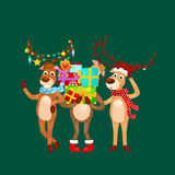 Christmas set of deer with banner isolated, happy winter xmas holiday animal greeting card, santa helper reindeer vector Royalty Free Stock Image