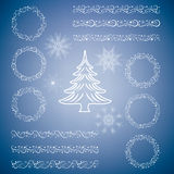 Christmas set of design elements - templates, tags, snowflakes, garland, frame, Christmas tree. Stock Images