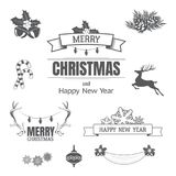 Christmas set with design elements, typographic elements, decora. Set of vector Christmas design elements and symbols on white background Royalty Free Stock Photo