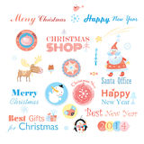 Christmas set with different elements Stock Photography