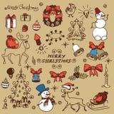 Christmas set doodles Stock Image
