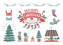 Christmas Set with Christmas elements. Merry Christmas and Happy New Year emblem, sign. Carousel with horses, garlands, gifts, Christmas trees, socks, masks royalty free illustration