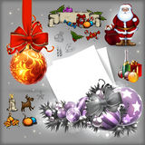 Christmas set. Set of christmas elements with Santa and gifts, this illustration may be useful as designer work Royalty Free Stock Images