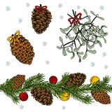 Christmas set elements on a white background. stock illustration