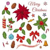 Christmas set with festive elements. Holly plant with red berry and green leaves and Mistletoe, fir branches, glass balls, bells, bows. Isolated elements for royalty free illustration