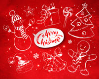Christmas set with festive objects Stock Images