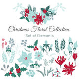 Christmas set of floral elements Stock Photo