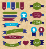 Christmas set geometric emblems and ribbons Stock Images
