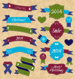 Christmas set geometric labels and ribbons Stock Images