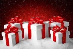 Christmas set of gift box on show Royalty Free Stock Photography