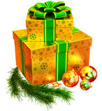 Christmas set of gifts with green bow Stock Photo