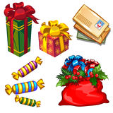 Christmas a set of gifts and letters to Santa. Isolated Royalty Free Illustration