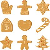 Christmas set of ginger bread, holiday cookie stock illustration