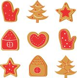 Christmas set with ginger cookies: tree, house, star, heart, mitten royalty free illustration