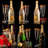 Christmas set. Glasses of champagne Stock Images