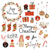 Christmas set graphic elements with wreath, cake, gingerbread house, mittens, toys, gifts and socks. Stock Photo