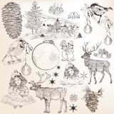 Christmas set of hand drawn elements for design Royalty Free Stock Images