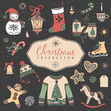 Christmas set of hand drawn festive illustrations. Design elements Stock Images