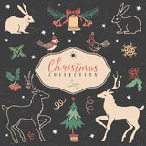 Christmas set of hand drawn festive illustrations. Royalty Free Stock Photo