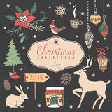 Christmas set of hand drawn festive illustrations. Design elements Stock Photos