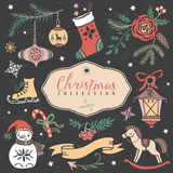 Christmas set of hand drawn festive illustrations. Stock Photos