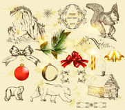Christmas set with hand drawn objects. Decorative elements for elegant Christmas design. Calligraphic vector Royalty Free Stock Photos