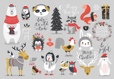 Christmas set, hand drawn style - calligraphy, animals and other elements. Royalty Free Stock Photos