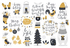 Christmas set, hand drawn style - calligraphy, animals and other elements. Stock Photos