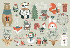 Christmas set, hand drawn style - calligraphy, animals and other elements. Stock Photography