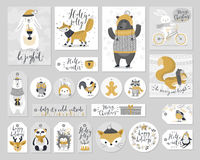Christmas set, hand drawn style - calligraphy, animals and other elements. Vector illustration. Royalty Free Stock Photo