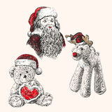 Christmas set  hand drawn vector llustration. Sketch Royalty Free Stock Photos
