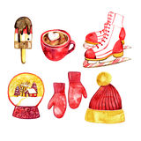 Christmas set - hat, mittens, ice cream, chocolate, skating, snow globe Royalty Free Stock Photo