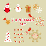 Christmas set of holiday characters and decorative elements. Royalty Free Stock Image
