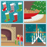 Christmas set with holiday symbols. Illustration of four christmas scenes - stockings waiting for santas gifts, gingerbread cookies, fireplace with gifts and Stock Image