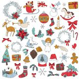 Christmas set icon elements can be used for advent. Christmas sticker icon set with gift box, xmas tree, deer, snowman, gingerbread cookie, candle, bell Stock Photos