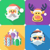 Christmas set icon flat design Royalty Free Stock Photo