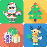 Christmas set icon flat design Stock Photos