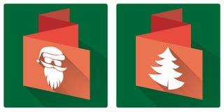 Christmas set icon. Christmas greeting card, flat design, christmas set Stock Photography